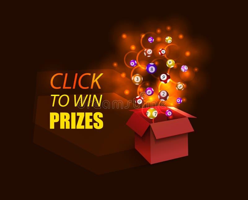 Vektor-offener roter Kasten, glühend, Rauch, Feuerwerks-Explosion und Lotterie-Bälle, glühende Illustration magisch stock abbildung
