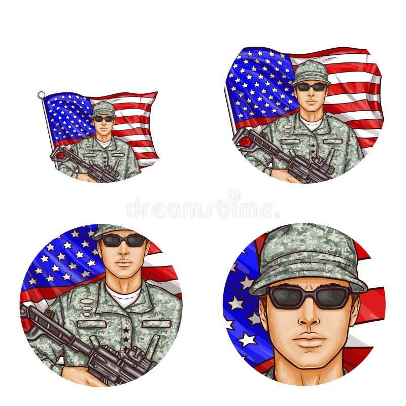 Vektor oss flagga, symboler för avatar för soldatpopkonst royaltyfri illustrationer