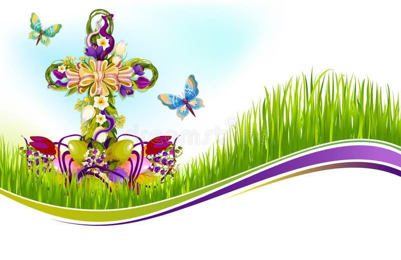 Vektor-Ostern-Kruzifix von den Blumen, die Karte greetting sind lizenzfreie abbildung