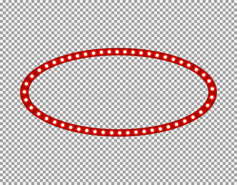 Vektor-ovaler heller Rahmen lokalisiert auf transparentem Hintergrund, Lampen, leere Grenze stock abbildung