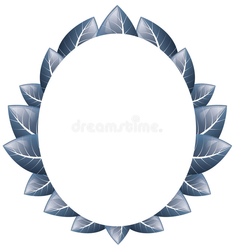 Vektor Ovaler Rahmen des Blaus verlässt auf einem weißen Hintergrund vektor abbildung