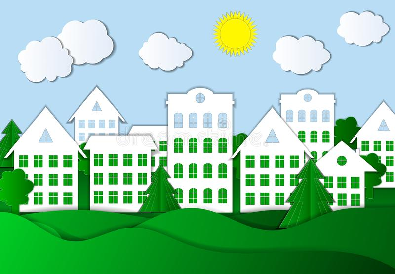 Vektor-Papier Art Style Town Illustration, bunter Hintergrund lizenzfreie abbildung