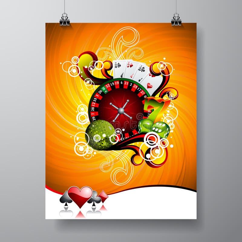 Vektor-Partei-Fliegerdesign auf einem Kasinothema mit Roulettekessel auf Schmutzhintergrund stock abbildung