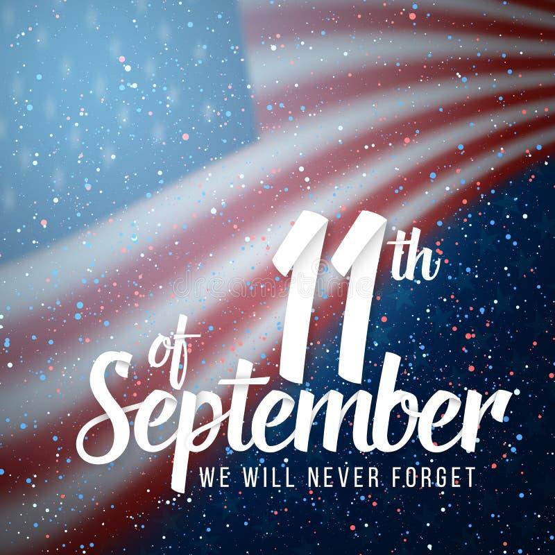 Vektor-Patriot-Tagesplakat Papierbeschriften am 11. September auf realistischem Hintergrund der amerikanischen Flagge mit Konfett stock abbildung