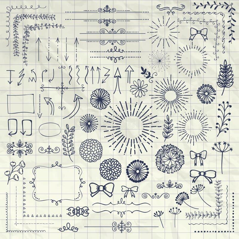 Vektor-Pen Drawing Floral Rustic Design-Elemente vektor abbildung