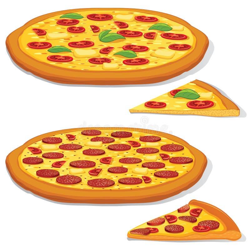 Vektor-Pepperonis und Margarita Pizza lizenzfreie abbildung