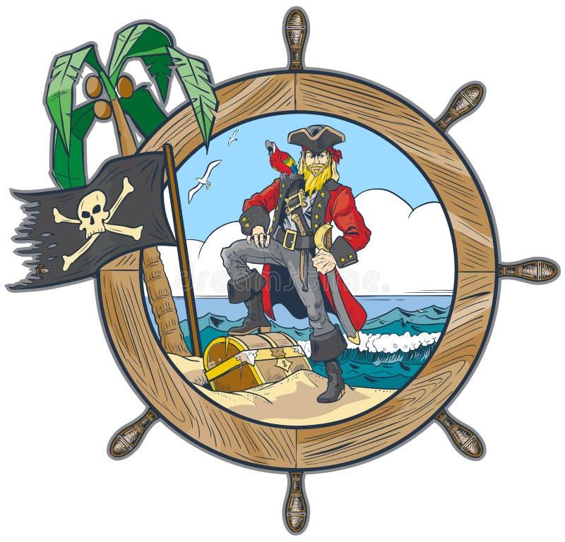 Vektor-Pirat im Schiffs-Lenkrad-Design stock abbildung