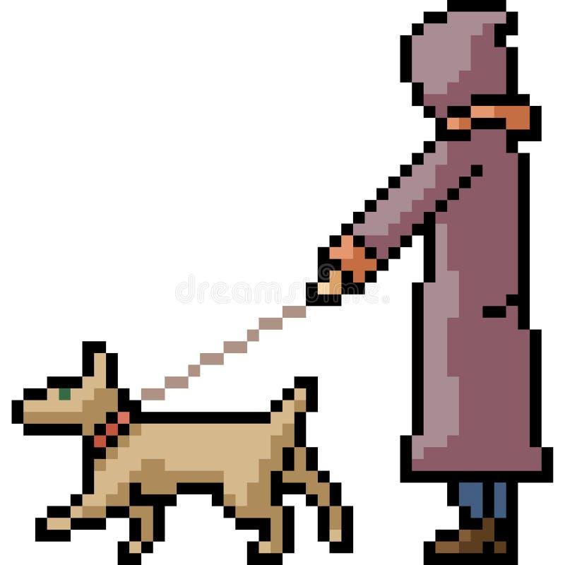 Vektor pixel art - sällskapsdjur stock illustrationer