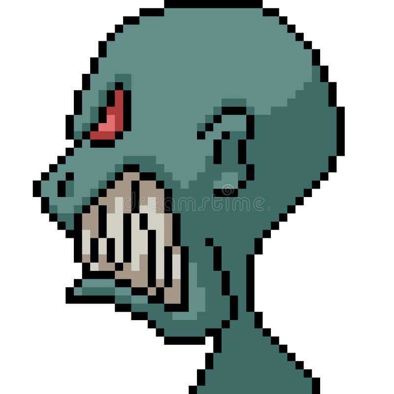 Vektor pixel art utomjordiskt monster stock illustrationer