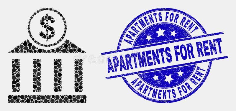 Vektor-Pixel-Dollar-Bank-Büro-Ikone und verkratzte Wohnungen für Mietstempel lizenzfreie abbildung