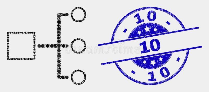 Vektor-Pixel-Hierarchie-Ikone und Dichtung des Schmutz-10 lizenzfreie abbildung