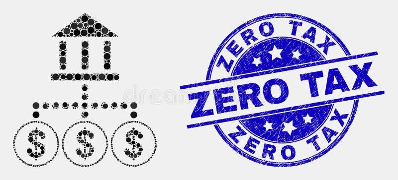 Vektor Pixelated-Bank-Hierarchie-Ikone und verkratzte nullsteuer-Dichtung stock abbildung