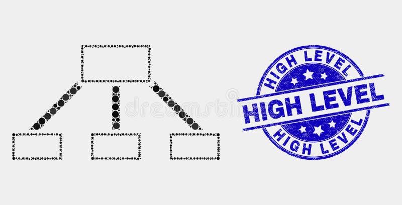 Vektor Pixelated-Hierarchie-Verbindungs-Ikone und verkratzter hochrangiger Stempel vektor abbildung