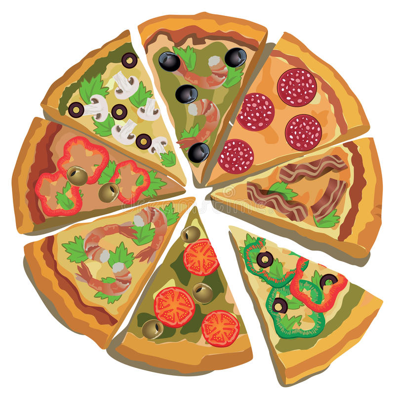 Vektor-Pizza-Aufkleber oder Plakat Lokalisierter Hintergrund stock abbildung
