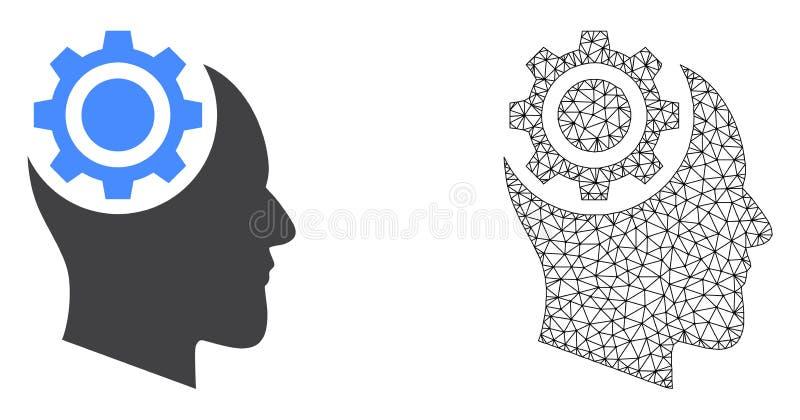 Vektor Polygonal Mesh Human Intellect Gear och plan symbol stock illustrationer