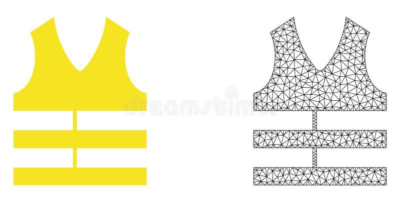 Vektor Polygonal Mesh Safety Vest och plan symbol royaltyfri illustrationer