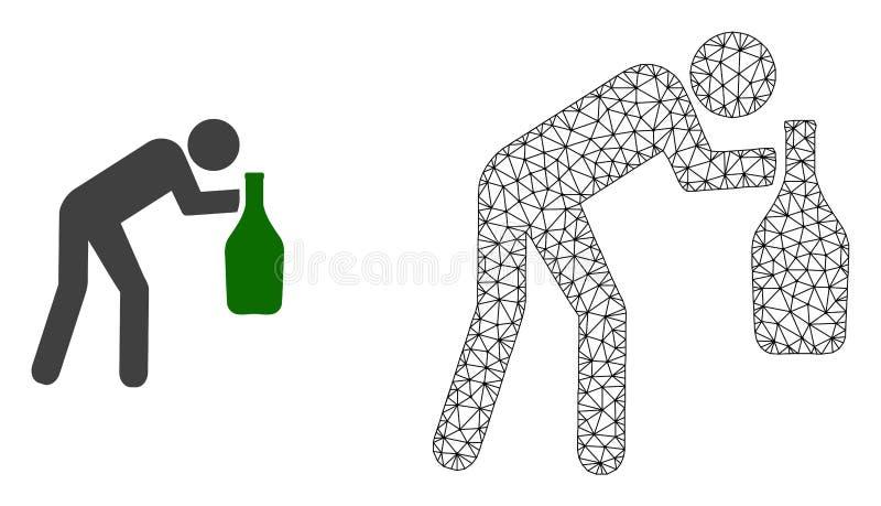 Vektor polygonaler Mesh Drunk Man und flache Ikone lizenzfreie abbildung
