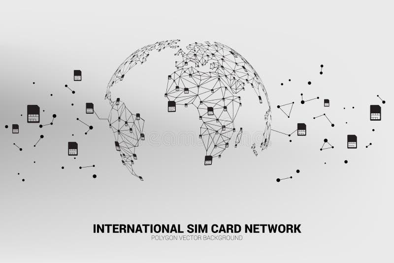 Vektor-Polygonsim-karten-Netz schließen Linie an Weltkarteform an lizenzfreie abbildung
