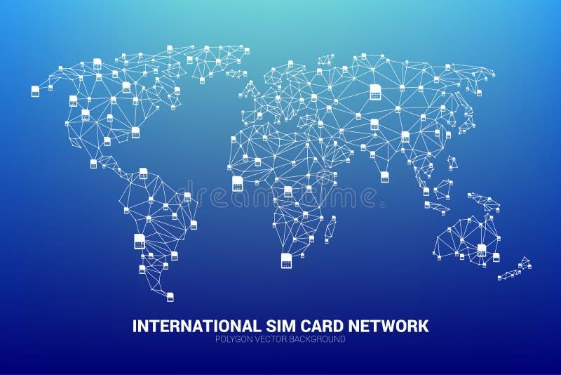 Vektor-Polygonsim-karten-Netz schließen Linie an Weltkarteform an stock abbildung