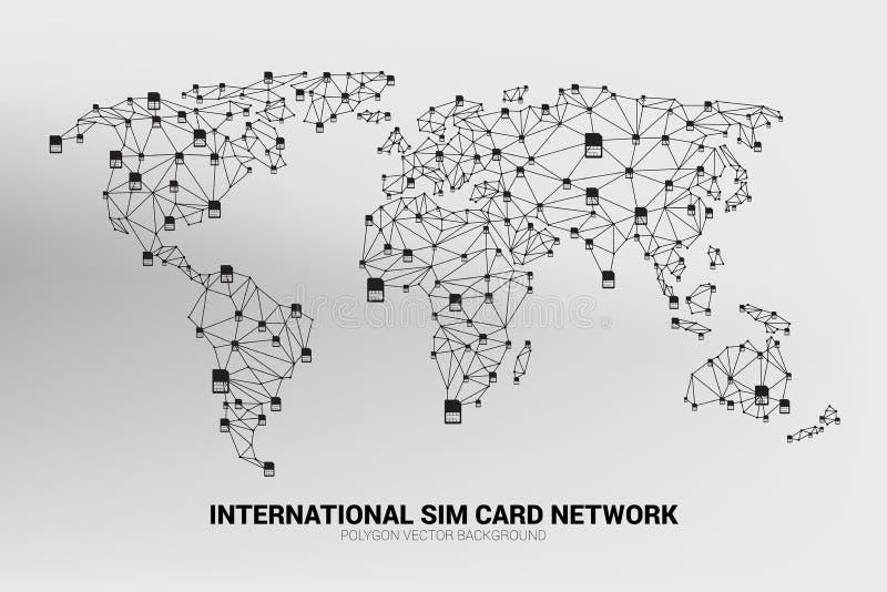 Vektor-Polygonsim-karten-Netz schließen Linie an Weltkarteform an vektor abbildung