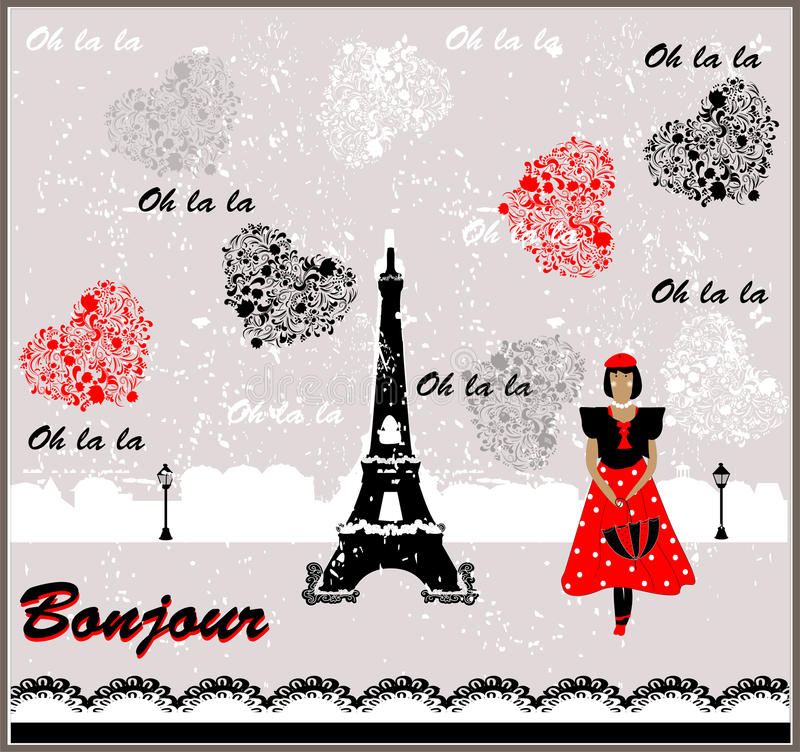 Vektor-Postkarte mit Frankreich-Bild französin lizenzfreie abbildung