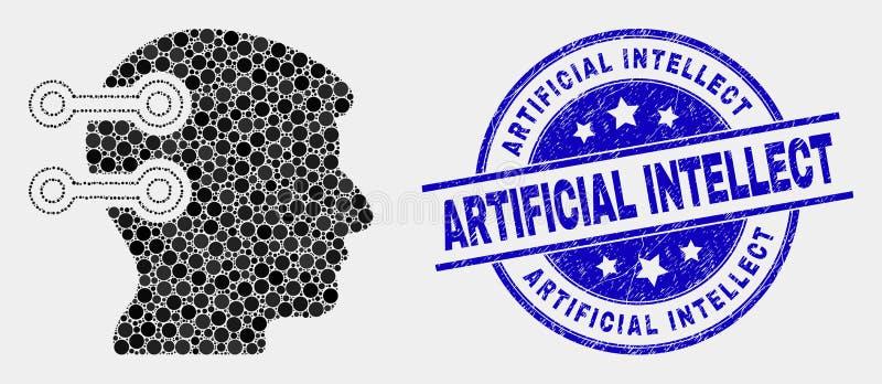 Vektor prack Brain Interface Links Icon och konstgjord intellektskyddsremsa för Grunge royaltyfri illustrationer