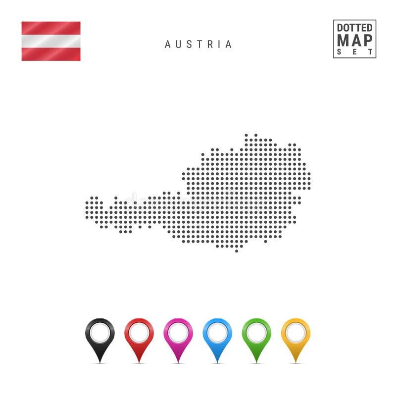 Vektor prucken översikt av Österrike Enkel kontur av Österrike Medborgare sjunker av Österrike Uppsättning av mångfärgade översik royaltyfri illustrationer