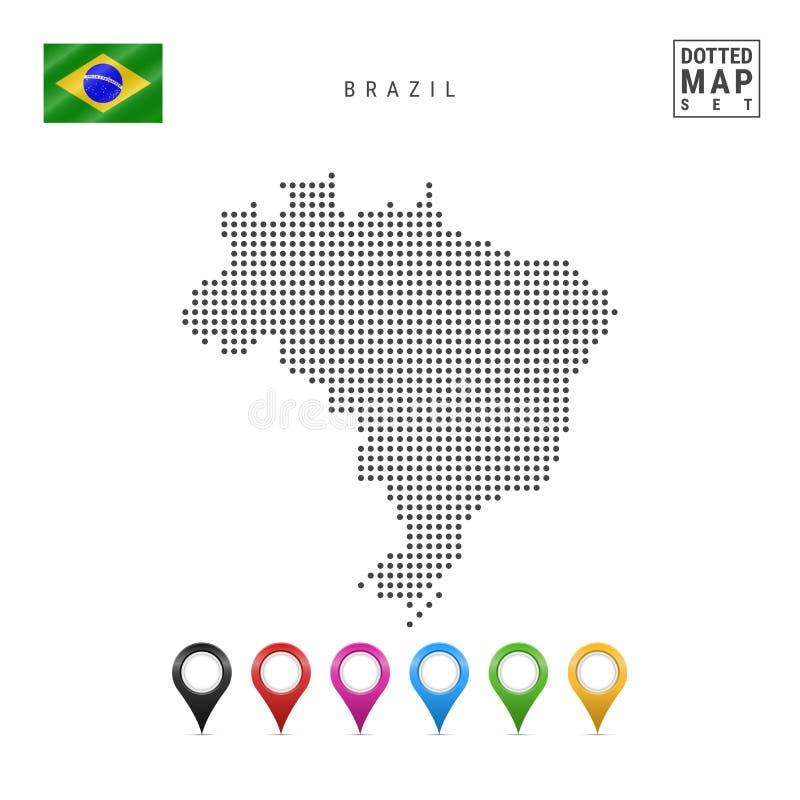 Vektor prucken översikt av Brasilien Enkel kontur av Brasilien Nationsflaggan av Brasilien Uppsättning av mångfärgade översiktsma stock illustrationer