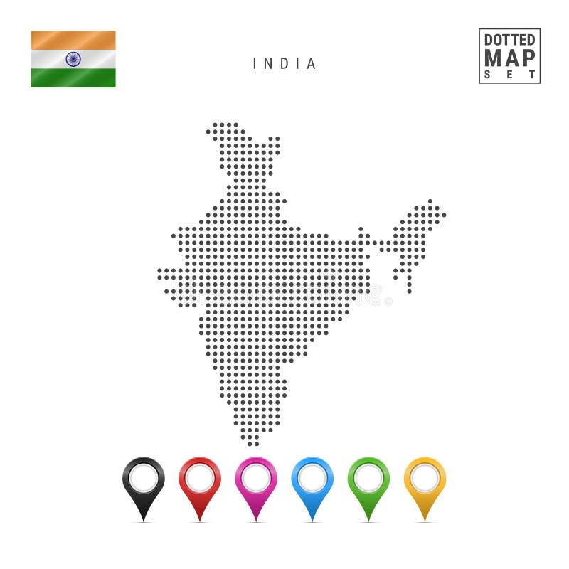 Vektor prucken översikt av Indien Enkel kontur av Indien Nationsflaggan av Indien Uppsättning av mångfärgade översiktsmarkörer vektor illustrationer