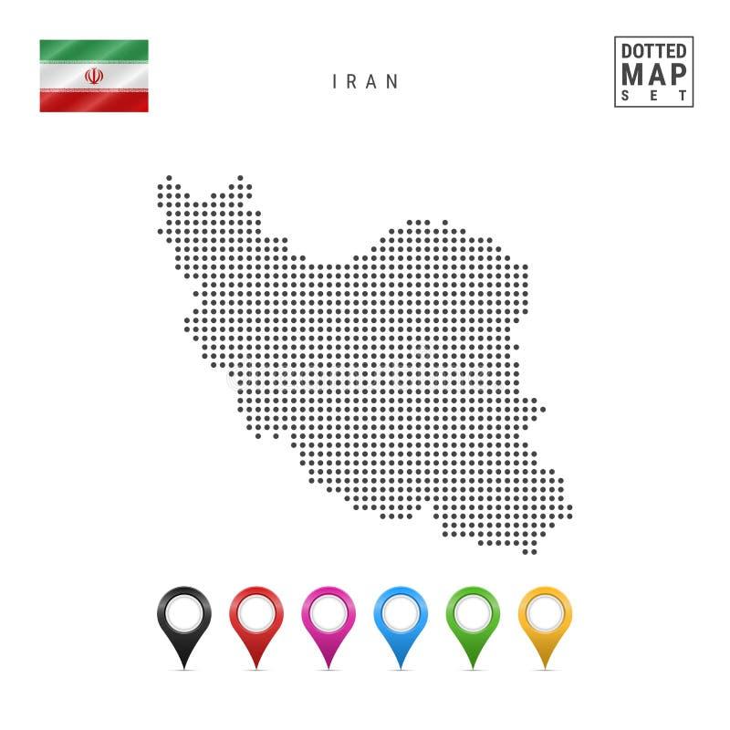 Vektor prucken översikt av Iran Enkel kontur av Iran Nationsflaggan av Iran Uppsättning av mångfärgade översiktsmarkörer stock illustrationer