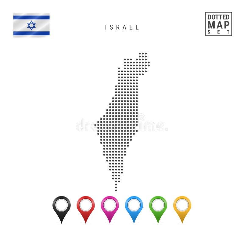 Vektor prucken översikt av Israel Enkel kontur av Israel Nationsflaggan av Israel Uppsättning av mångfärgade översiktsmarkörer vektor illustrationer