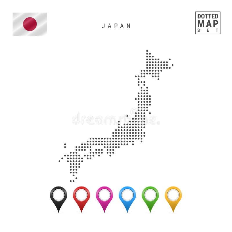 Vektor prucken översikt av Japan Enkel kontur av Japan Nationsflaggan av Japan Uppsättning av mångfärgade översiktsmarkörer stock illustrationer