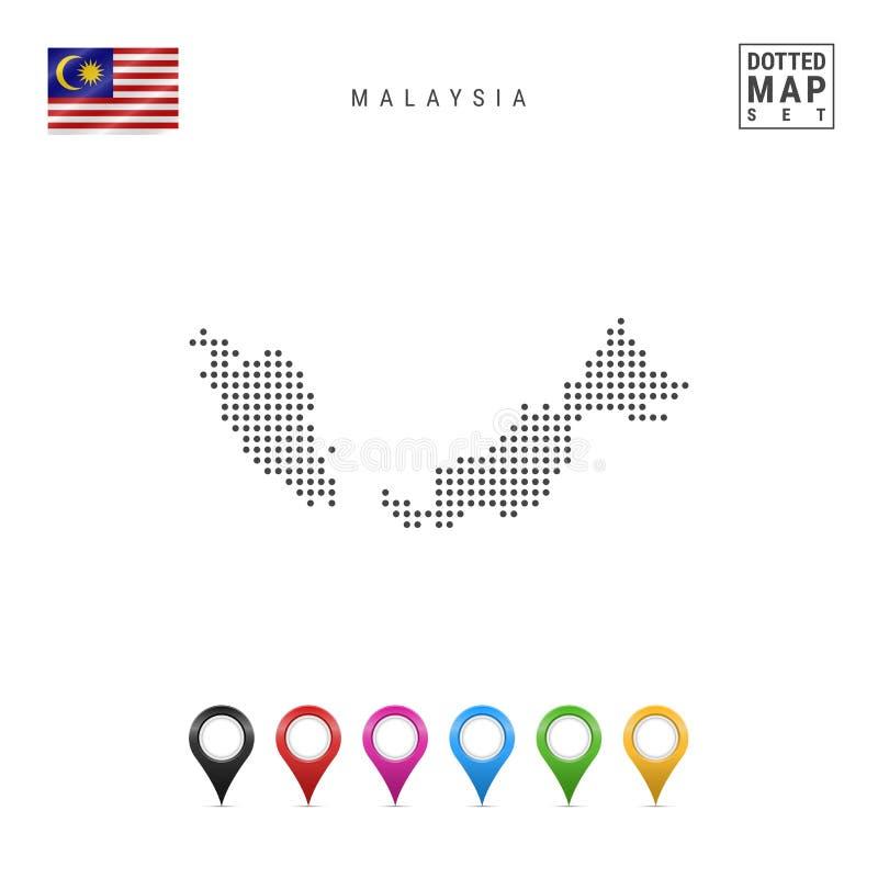 Vektor prucken översikt av Malaysia Enkel kontur av Malaysia flaggamalaysia national Uppsättning av mångfärgade översiktsmarkörer royaltyfri illustrationer