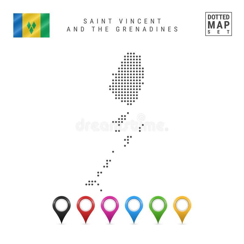 Vektor prucken översikt av Saint Vincent och Grenadinerna Kontur flagga av Saint Vincent och Grenadinerna Kartlägga markörer royaltyfri illustrationer