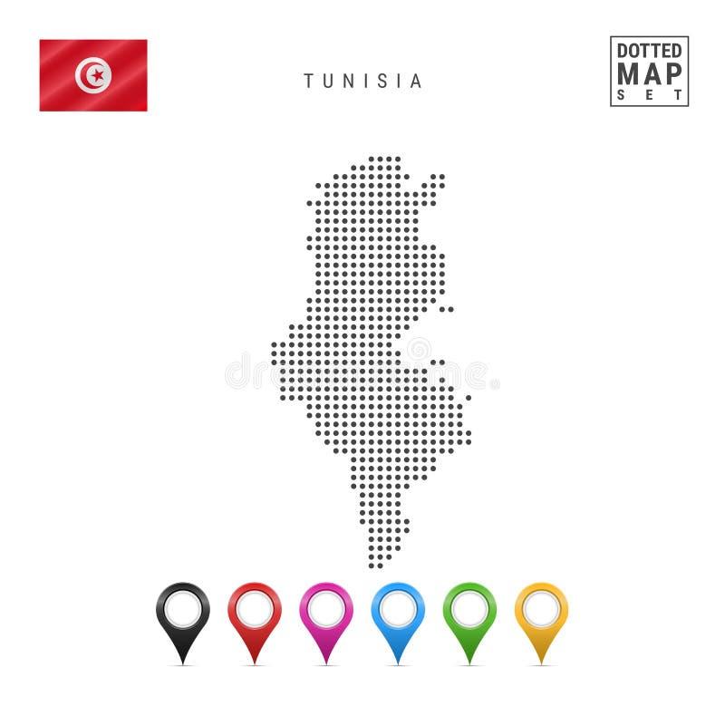 Vektor prucken översikt av Tunisien Enkel kontur av Tunisien Nationsflagga av Tunisien Uppsättning av mångfärgade översiktsmarkör royaltyfri illustrationer