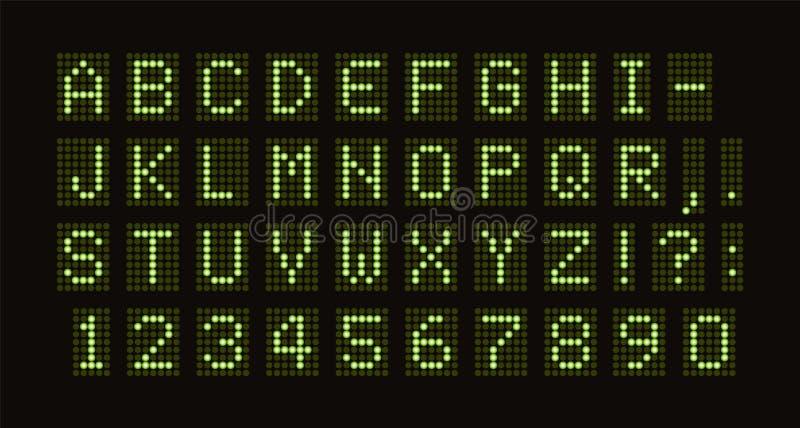Vektor prucken stilsort för digital LEDD tabell Gräsplan monospace bokstäver från klarteckencirkeluppsättning digitalt ställningb royaltyfri illustrationer