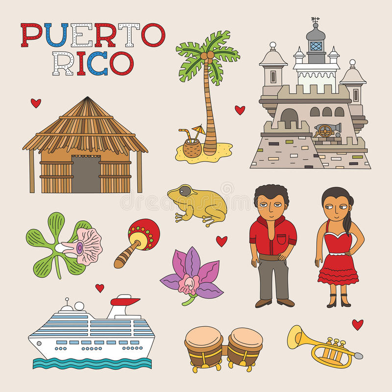 Vektor Puerto Rico Doodle Art för lopp och turism royaltyfri illustrationer