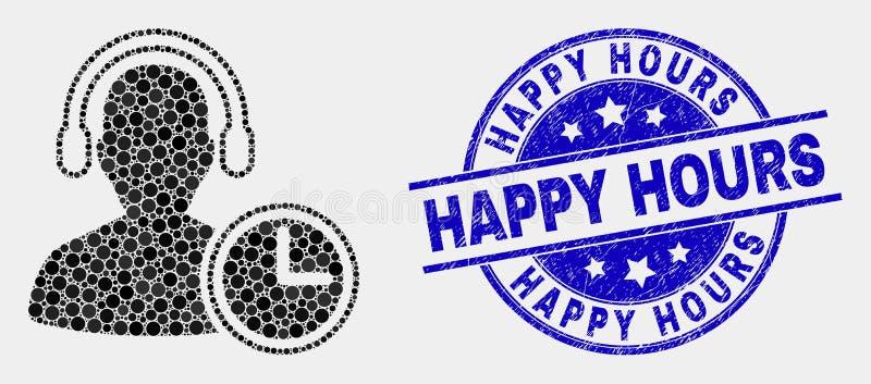 Vektor punktierte Betreiber-Zeit-Ikone und verkratztes glückliche Stunden-Stempelsiegel lizenzfreie abbildung