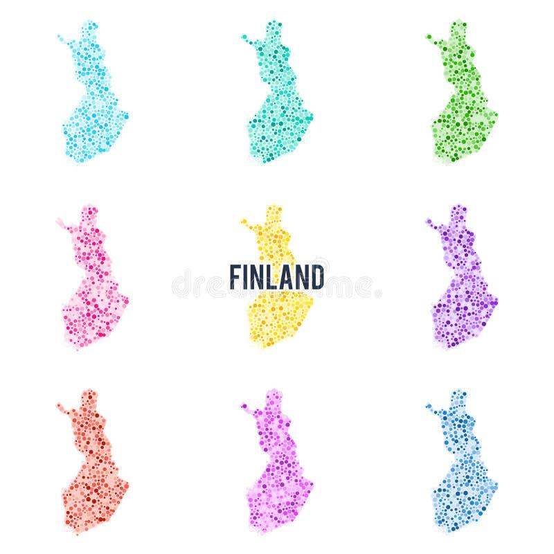 Vektor punktierte bunte Karte von Finnland lizenzfreie abbildung