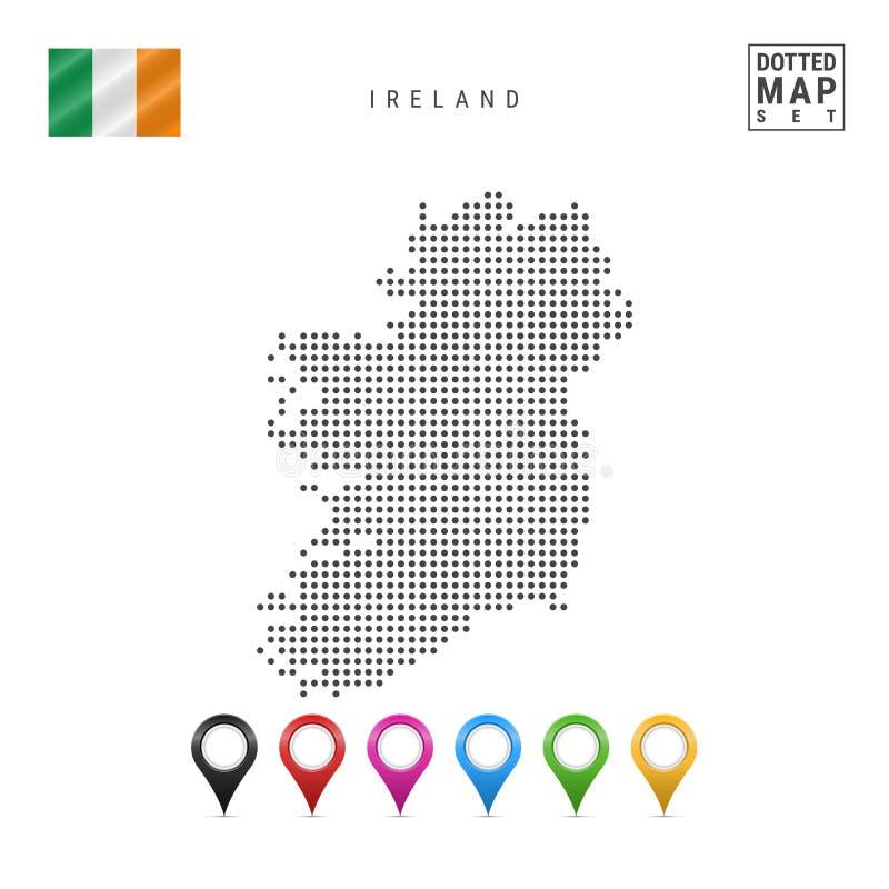 Vektor punktierte Karte von Irland Einfaches Schattenbild von Irland Staatsflagge von Irland Satz mehrfarbige Karten-Markierungen lizenzfreie abbildung