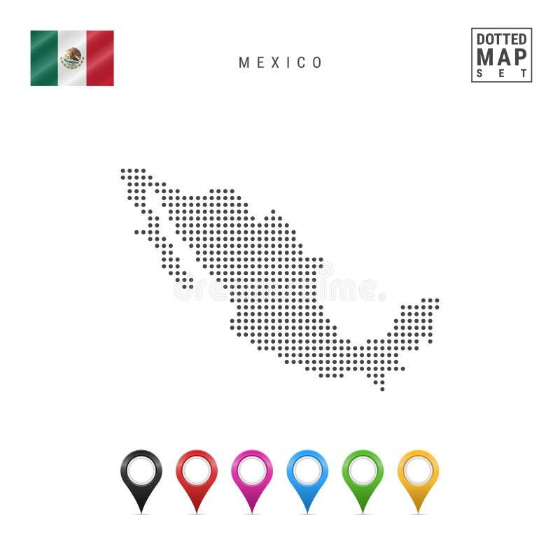Vektor punktierte Karte von Mexiko Einfaches Schattenbild von Mexiko Die Staatsflagge von Mexiko Satz mehrfarbige Karten-Markieru lizenzfreie abbildung
