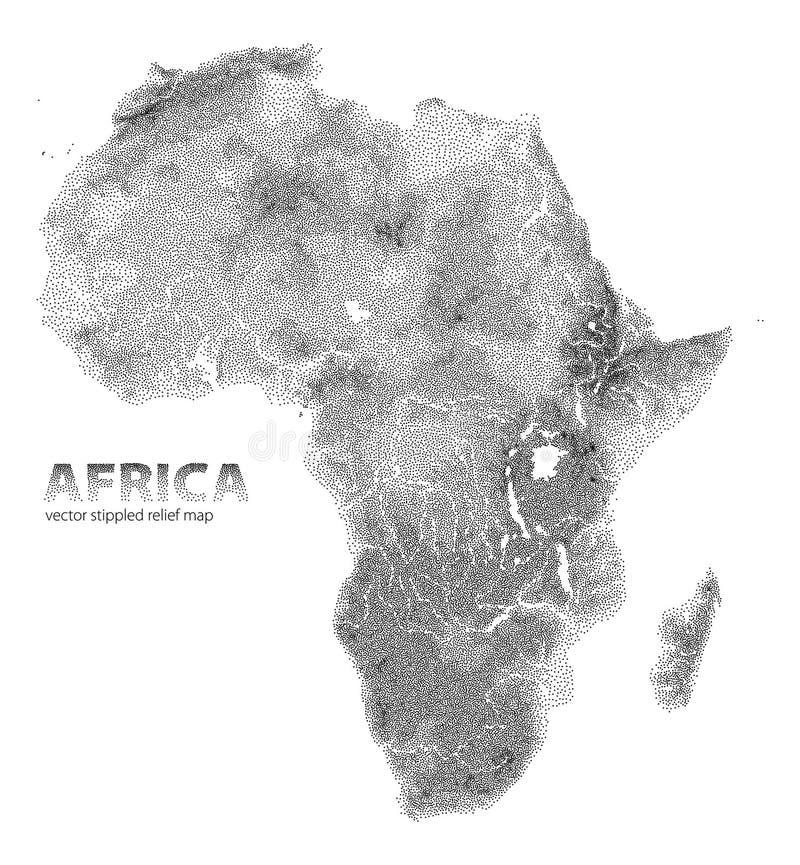 Vektor punktierte Reliefkarte von Afrika stock abbildung
