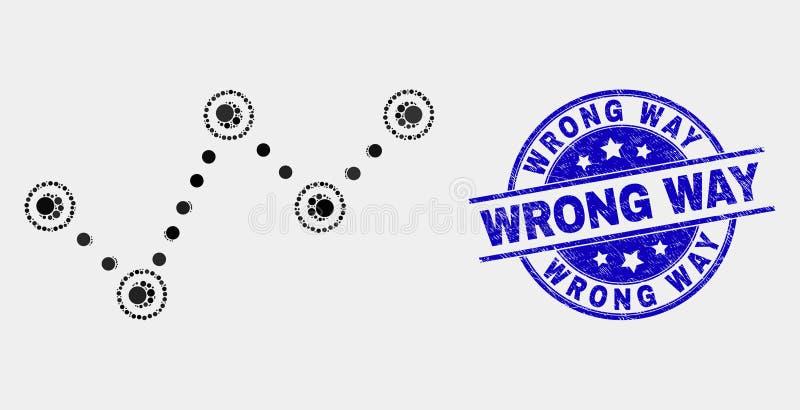 Vektor punktierte Tendenz-Diagramm-Ikone und beunruhigt falsche Weisen-Dichtung lizenzfreie abbildung