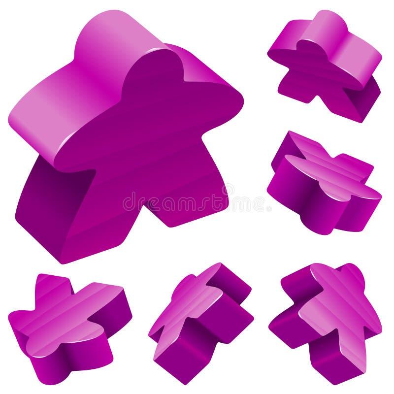 Vektor purpurrote meeples für Brettspiele stock abbildung