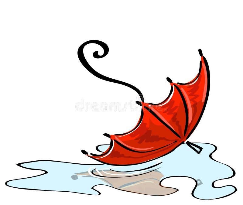 Vektor. Rött paraply som är stupat in i en pöl royaltyfri illustrationer