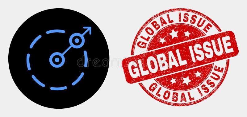 Vektor-Radialentweichen-Grenzikone und verkratzter globaler Frage-Stempel lizenzfreie abbildung