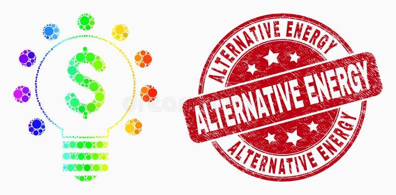 Vektor-Regenbogen farbige Pixel-Dollar-Glühlampe-Ikonen-und Schmutz-alternative Energie-Stempel stock abbildung