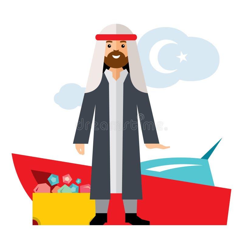 Vektor-Reicher von den UAE Erfolgs-Arabisch-Geschäft Saudischer Scheich Flache Art bunte Karikaturillustration vektor abbildung