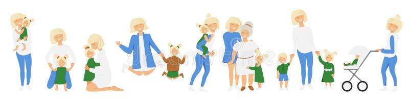 Vektor-Reihe der kleinen Aktivitäten der blond Mutter vektor abbildung