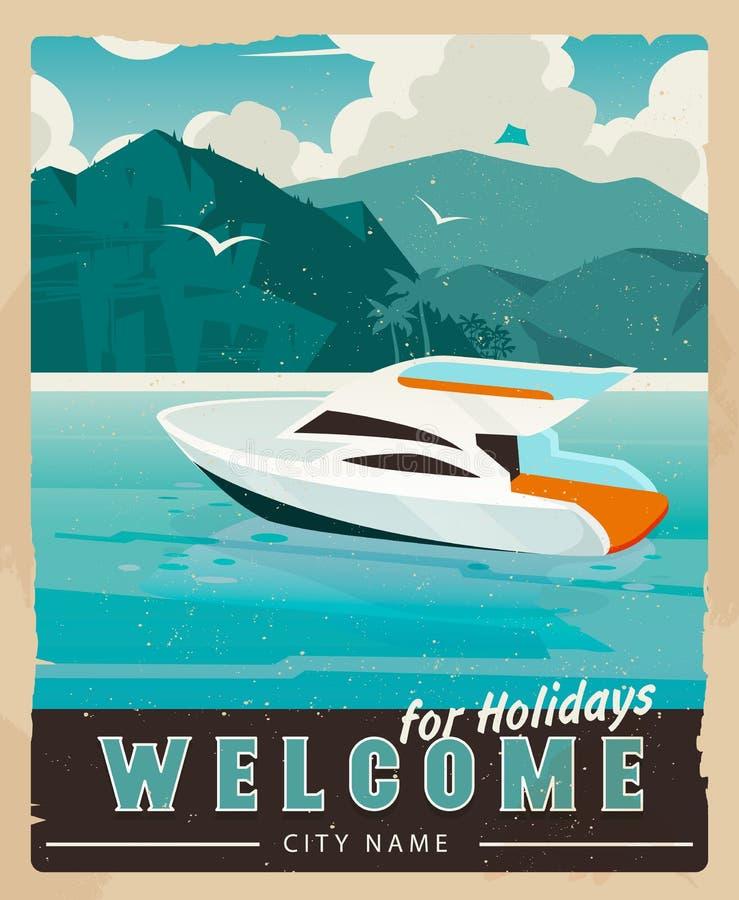 Vektor-Reise-Plakat in der Weinleseart Retro- Reiseillustration für die Werbung vektor abbildung